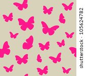 Stock vector pink butterfly on beige background seamless pattern vector 105624782