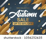 autumn sale. fall season sale... | Shutterstock .eps vector #1056252635