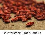 goji berries useful fruit...   Shutterstock . vector #1056258515