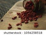 goji berries useful fruit...   Shutterstock . vector #1056258518