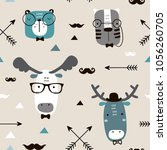 seamless childish pattern with... | Shutterstock .eps vector #1056260705