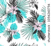 tropical  flowers and palm... | Shutterstock .eps vector #1056260756
