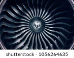 3D Rendering jet engine, close-up view jet engine blades. Blue tint. - stock photo