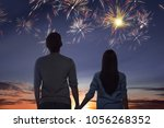 young asian couple watching... | Shutterstock . vector #1056268352
