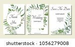 set of card with forest leaves. ... | Shutterstock .eps vector #1056279008
