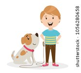 Stock vector character of a person the boy is walking with a dog home pet vector 1056280658