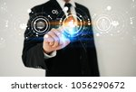 hand touch screen social icons .... | Shutterstock . vector #1056290672