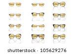 yellow sunglasses set isolated... | Shutterstock .eps vector #105629276
