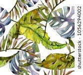 tropical hawaii leaves tree... | Shutterstock . vector #1056294002