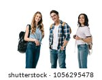 smiling multicultural students...   Shutterstock . vector #1056295478