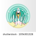 paper art style of rocket...   Shutterstock .eps vector #1056301328