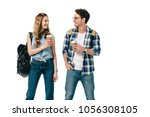smiling young students holding...   Shutterstock . vector #1056308105