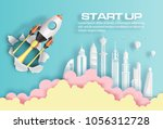 paper art style of rocket... | Shutterstock .eps vector #1056312728