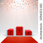 white winners podium with red... | Shutterstock .eps vector #1056321182