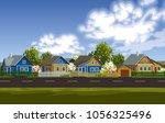russian village spring... | Shutterstock .eps vector #1056325496