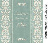 invitation cards damask blue | Shutterstock .eps vector #105632912