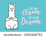 yoga llama illustration with... | Shutterstock .eps vector #1056336752