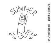 line art summer beach logo.... | Shutterstock .eps vector #1056345506