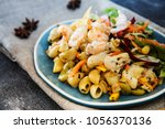 pasta with vegetables and...   Shutterstock . vector #1056370136