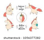 set of funny unicorns on the... | Shutterstock .eps vector #1056377282