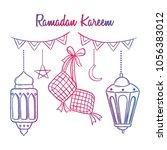 set of ramadan kareem icons... | Shutterstock .eps vector #1056383012
