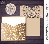die laser cut wedding card... | Shutterstock .eps vector #1056384416
