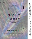 night party poster. 80s disco... | Shutterstock .eps vector #1056386552