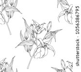 floral seamless pattern with... | Shutterstock .eps vector #1056386795