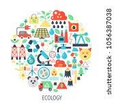 ecology  green energy flat...   Shutterstock .eps vector #1056387038