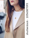 fashion blogger outfit details. ... | Shutterstock . vector #1056387095
