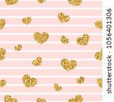 gold heart seamless pattern.... | Shutterstock .eps vector #1056401306