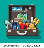 big travel set. summer holiday  ... | Shutterstock .eps vector #1056425225