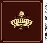 restaurant logo template vector ... | Shutterstock .eps vector #1056442058