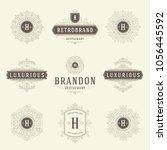 luxury logos templates set ... | Shutterstock .eps vector #1056445592