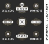 luxury logos templates set ... | Shutterstock .eps vector #1056445595