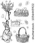 vector set  of different easter ... | Shutterstock .eps vector #1056445922
