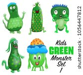 kids green monster set 1.... | Shutterstock . vector #1056447812