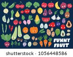 big set of cute funny fruit ... | Shutterstock .eps vector #1056448586