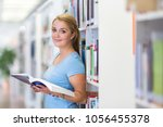 pretty  female student in a... | Shutterstock . vector #1056455378