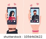 male and female hands holding... | Shutterstock .eps vector #1056463622