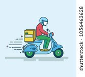 man in helmet riding scooter... | Shutterstock .eps vector #1056463628