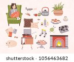 set of hygge attributes ... | Shutterstock .eps vector #1056463682