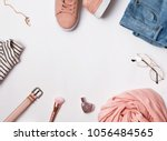 stylish feminine outfit concept.... | Shutterstock . vector #1056484565
