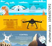 modern air drones for card and... | Shutterstock .eps vector #1056507092