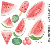 set of watercolor hand drawn...   Shutterstock . vector #1056518432