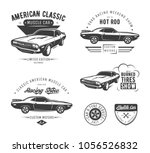 Stock vector set of classic muscle car emblems labels logos and design elements isolated on white background 1056526832