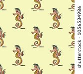 quirky seahorse seamless... | Shutterstock .eps vector #1056534986