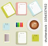 the sheets of the planner in a... | Shutterstock .eps vector #1056537452