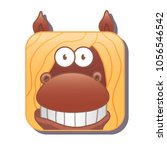 cute square brown horse with...