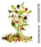 mixed salad that falls in a... | Shutterstock . vector #1056550478